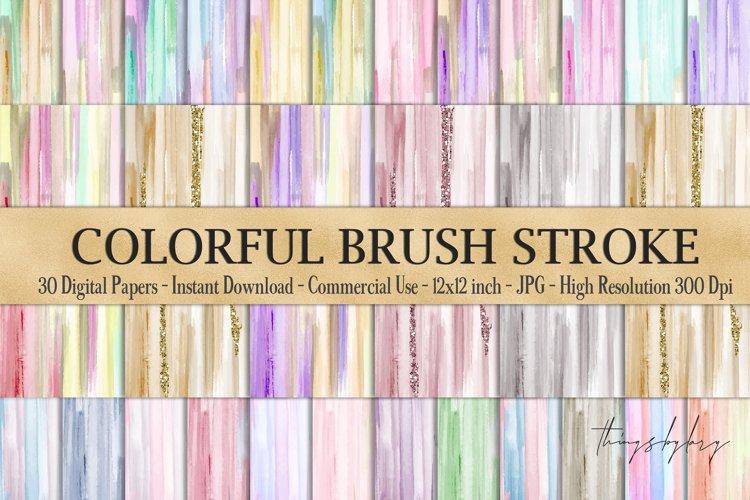 30 Watercolor Artistic Colorful Brush Stroke Digital Papers