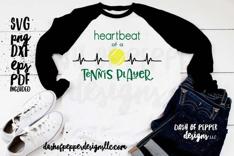 Heartbeat of a Tennis Player- A Tennis SVG example image 1