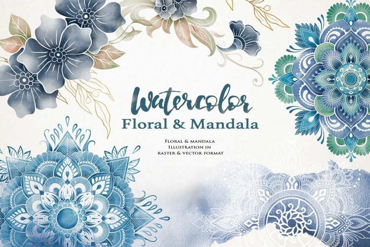 Nautical Floral & Mandala Watercolor example image 1