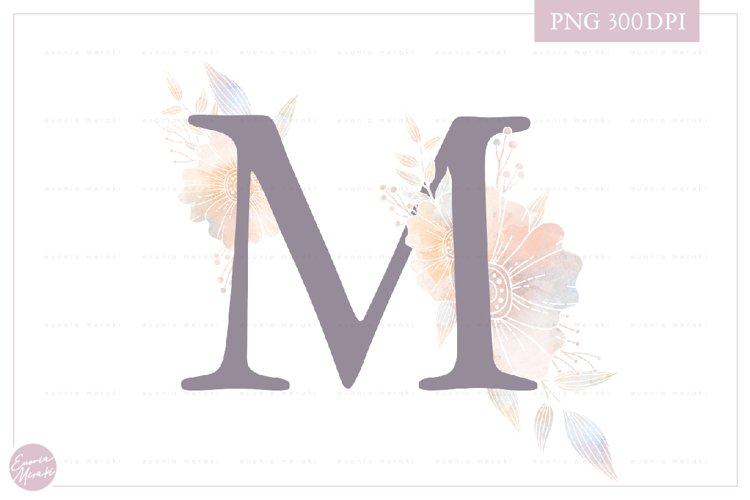 MONOGRAM Letter M Elegant Floral Monogram - Flower alphabet example image 1
