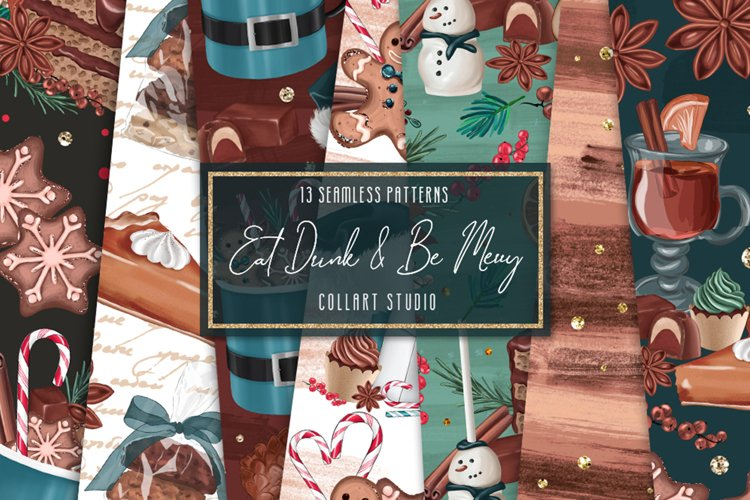Christmas digital papers, xmas candies digital papers example image 1