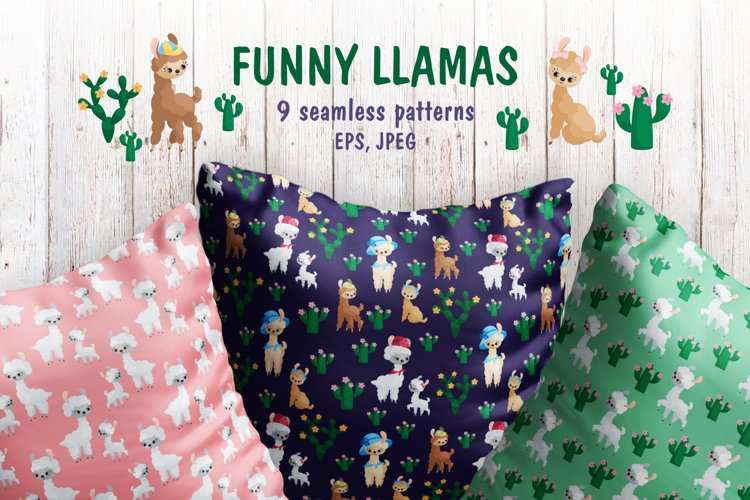 Funny Llamas. Seamless patterns mini set.