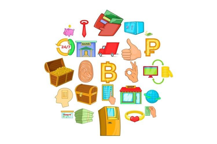 Cash icons set, cartoon style example image 1