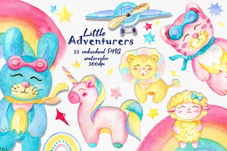 Watercolor kids clipart, Unicorn PNG, Cute Baby animals