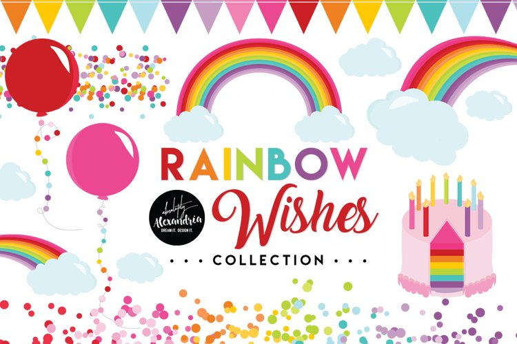 Rainbow Wishes Clipart Graphics & Digital Paper Patterns Bundle example image 1