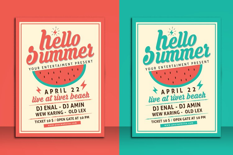 Hello Summer Party Flyer Template example image 1