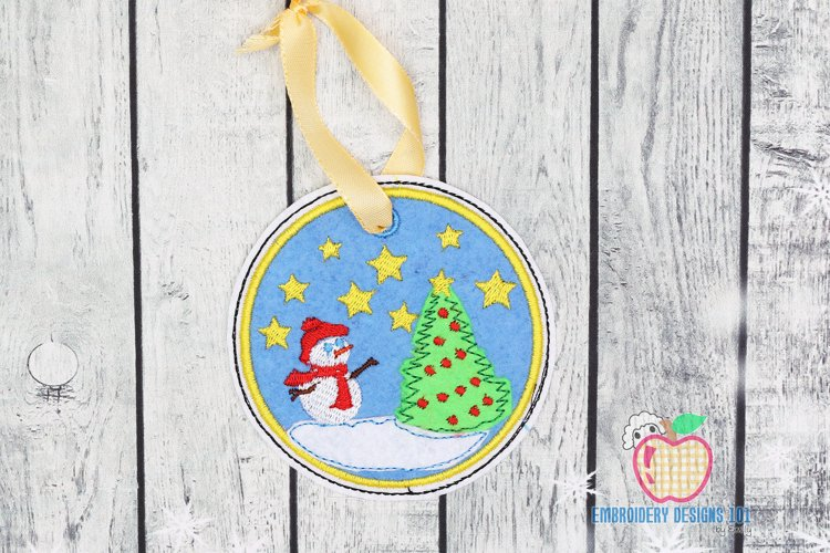 Snowman with Christmas Tree Ornament Embroidery example image 1