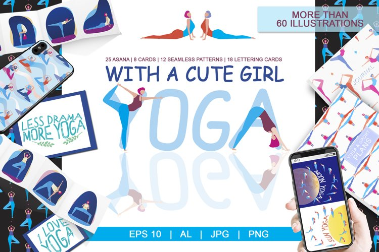 Yoga with girl - set of illustrations with asana example image 1