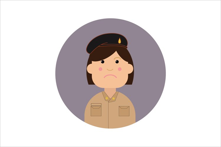 Icon Character Policewomen Brown Uniform example image 1
