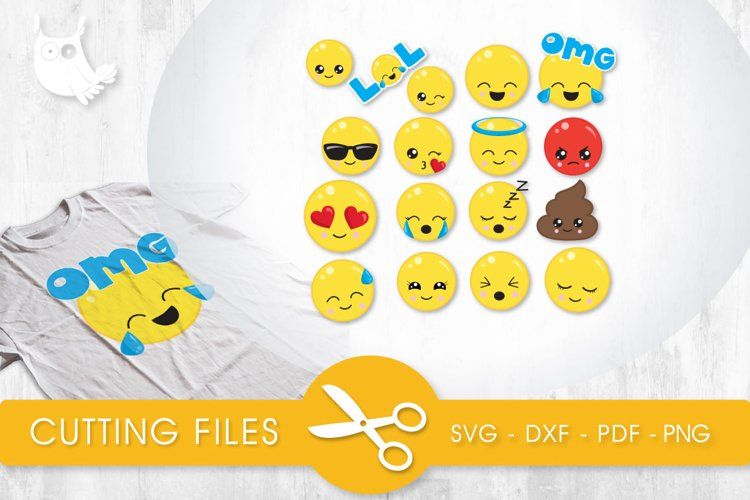 Face Expressions files svg, dxf, pdf, eps included - cut files for cricut and silhouette - Cutting Files SVG example image 1