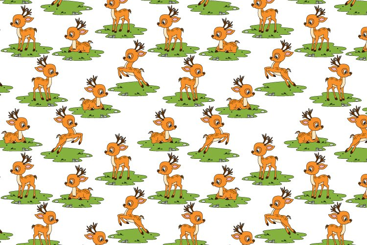 pattern design, with cute deer cartoon ornament example image 1
