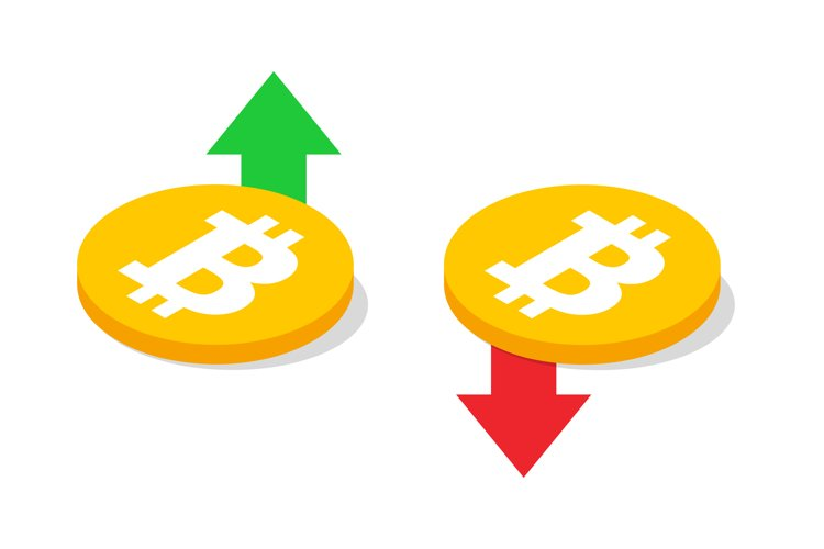 Bitcoin with up and down arrows. Fall and rise of bitcoin
