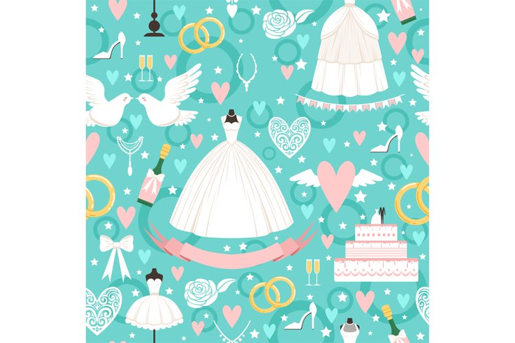 Seamless pattern with different wedding symbols in cartoon s example image 1