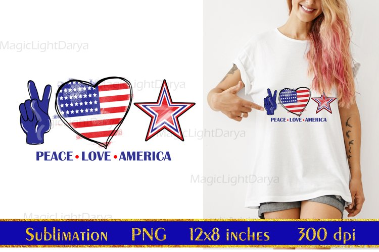 Peace Love America Sublimation,Independence Day