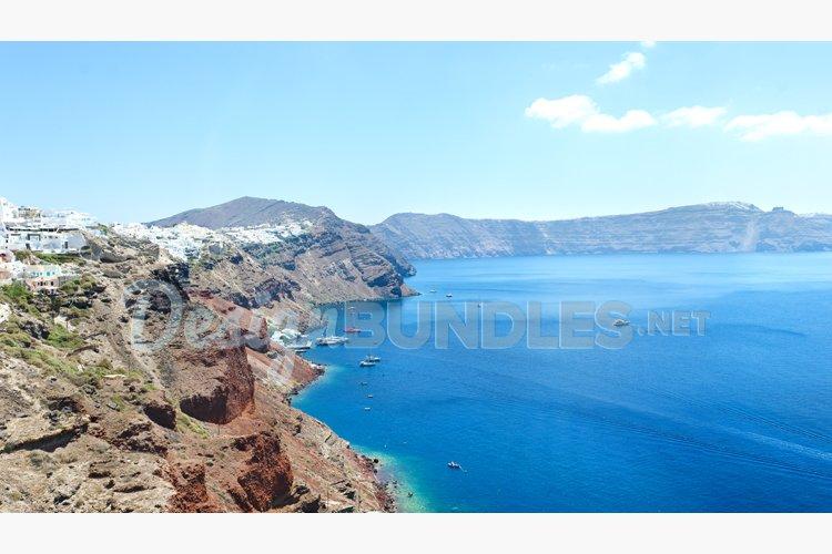 Caldera at Oia Santorini Greece island postcard example image 1