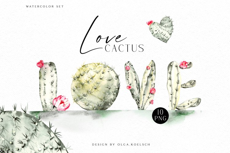 Watercolor cactus clipart, Cute cactus png. Love cactus example image 1