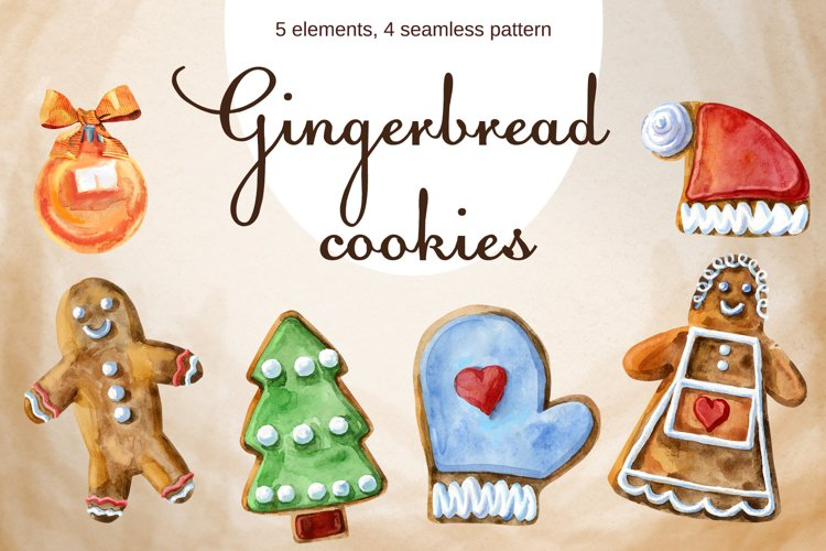 Watercolor Christmas gingerbreads example image 1