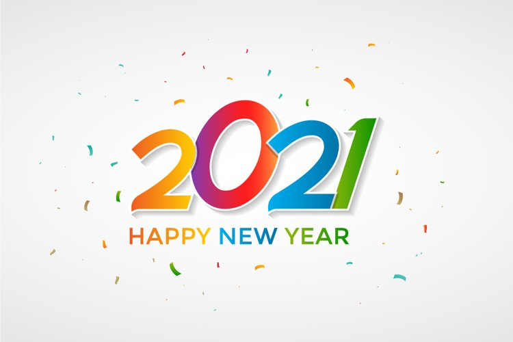 Colorful Happy New Year 2021 Lettering on White Background