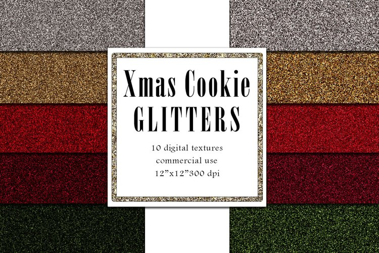 Christmas Glitters, Holiday Digital Paper example image 1