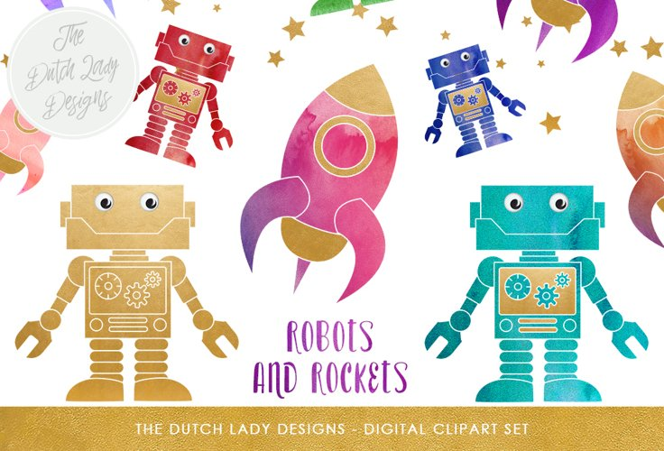 Robot   Rocket Clipart Set
