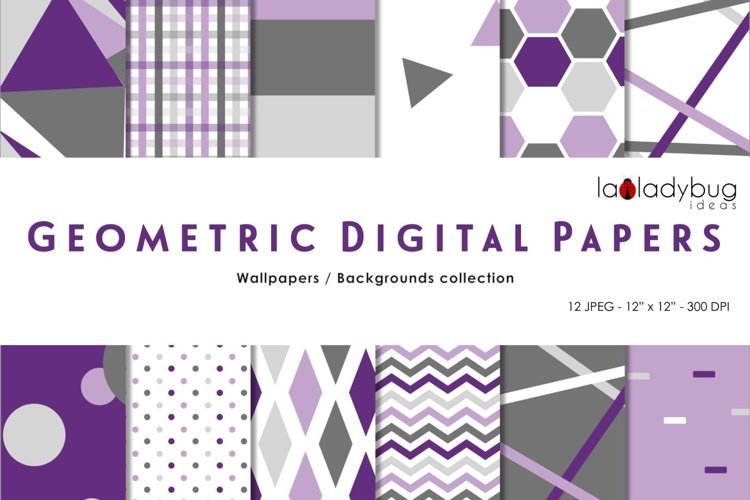 Purple and gray triangle digital papers. Geometric wallpaper example image 1