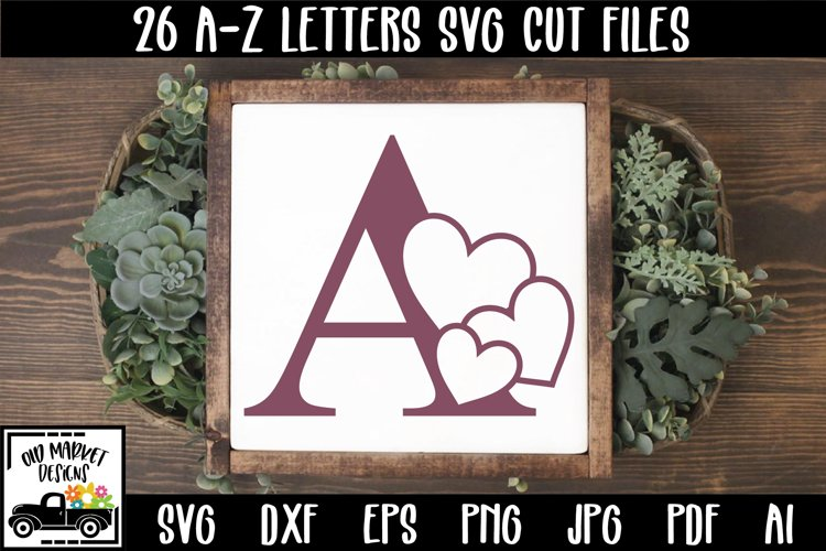 Heart Alphabet Letter A-Z SVG Cut Files