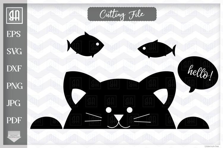 Cat SVG, Peeking cat SVG, Black Kitty SVG, Kitty face SVG