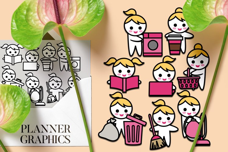 Planner girl routine tasks graphics illustration