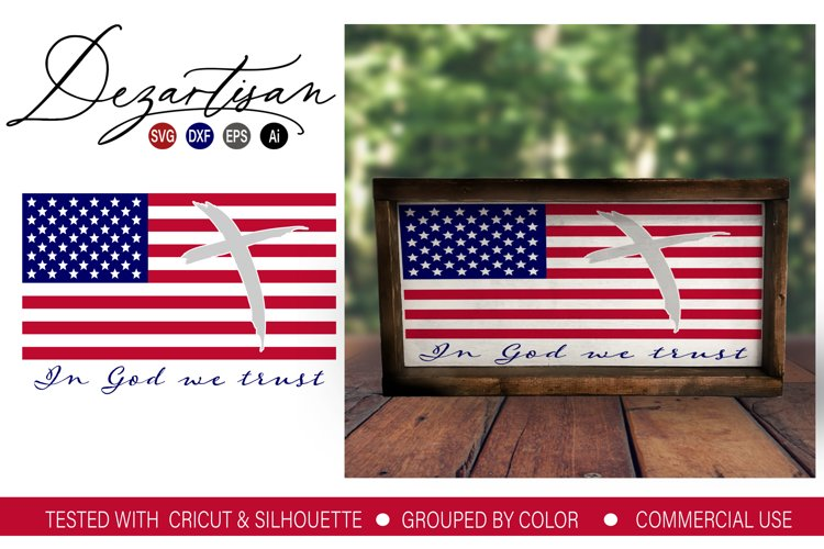 American Flag In God we Trust Cross SVG DXF PNG Cut File