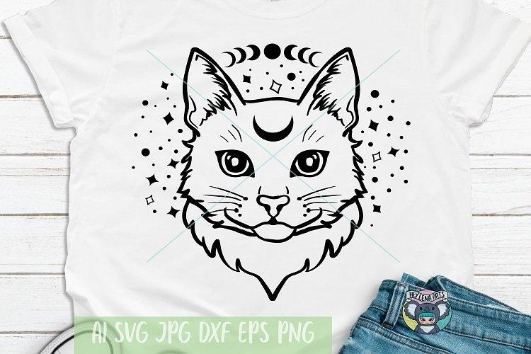 Celestial svg, Mystic svg, Moon Cat svg, Moon Phase svg