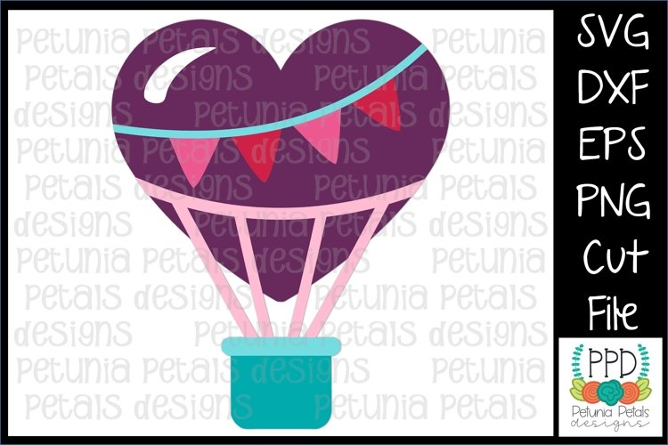 Valentine Hot Air Balloon SVG example image 1