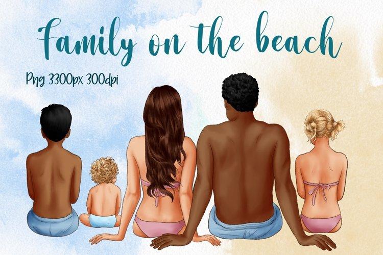 Family on the Beach, Summer Clipart, Big Family, Beach art