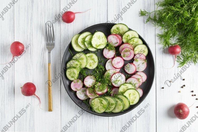 Fresh cucumber and radish salad