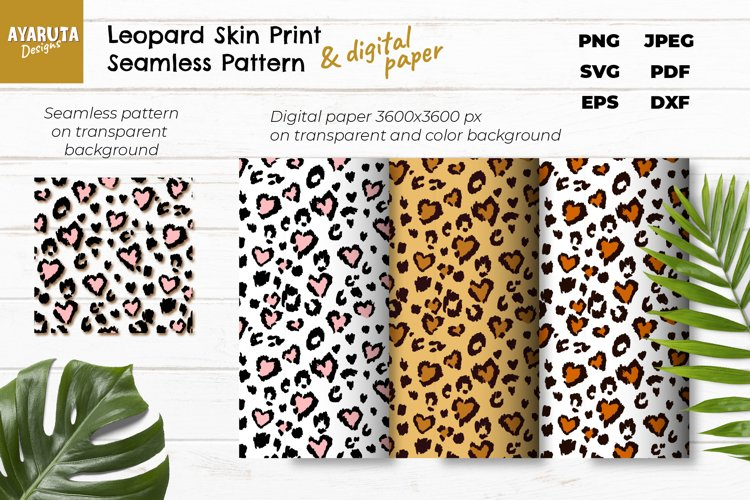 Leopard Heart Print SVG, Seampless Pattern, Digital Paper example image 1