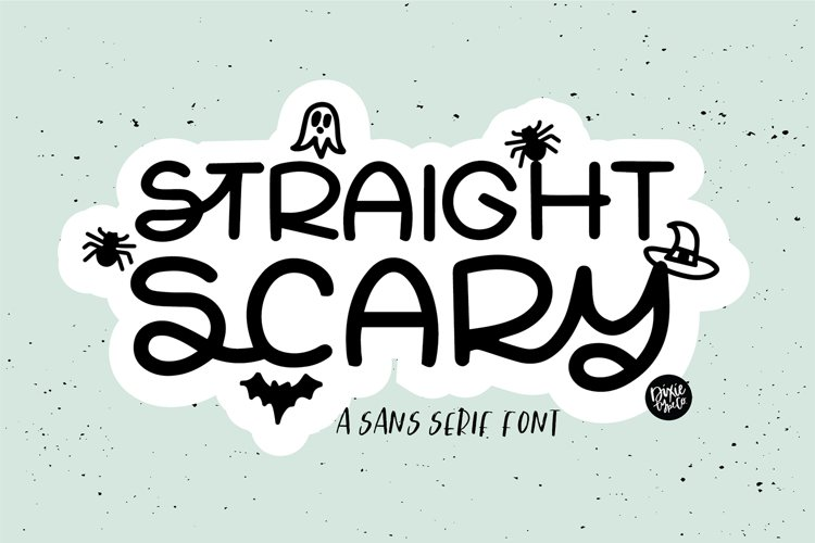STRAIGHT SCARY a Sans Halloween Font with Doodles example image 1