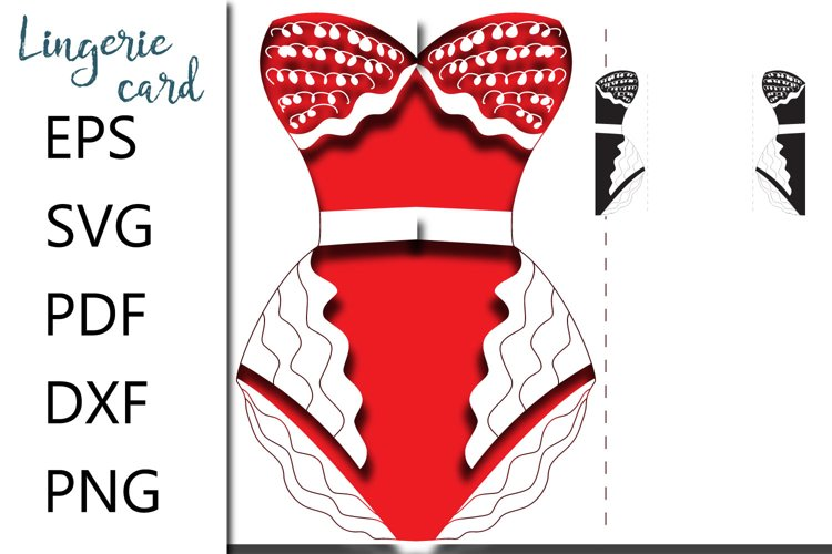 Corset card svg cut file - EPS SVG PDF DXF PNG example image 1