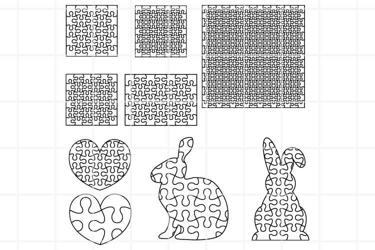 Puzzle SVG. Heart Puzzle cut file. Bunny Puzzle cuttung set. example image 1