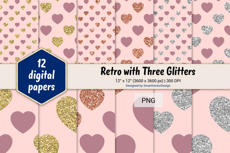Hearts Retro with Three Glitters Color Combo #20 example image 1