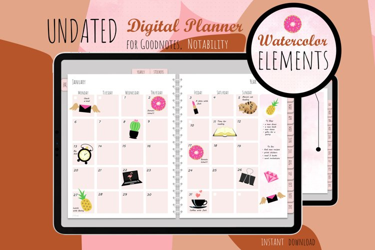 Undated Digital Planner Watercolor 01 for iPad GoodNotes
