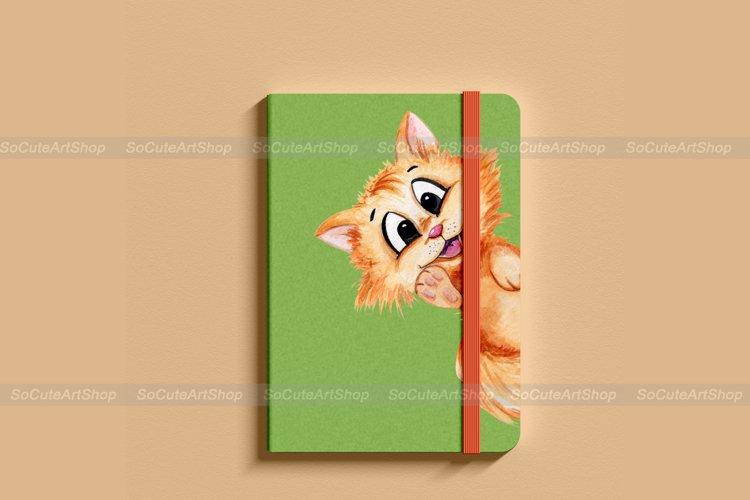 Watercolor cat clipart png, cute cat clip art, kawaii pet example 6