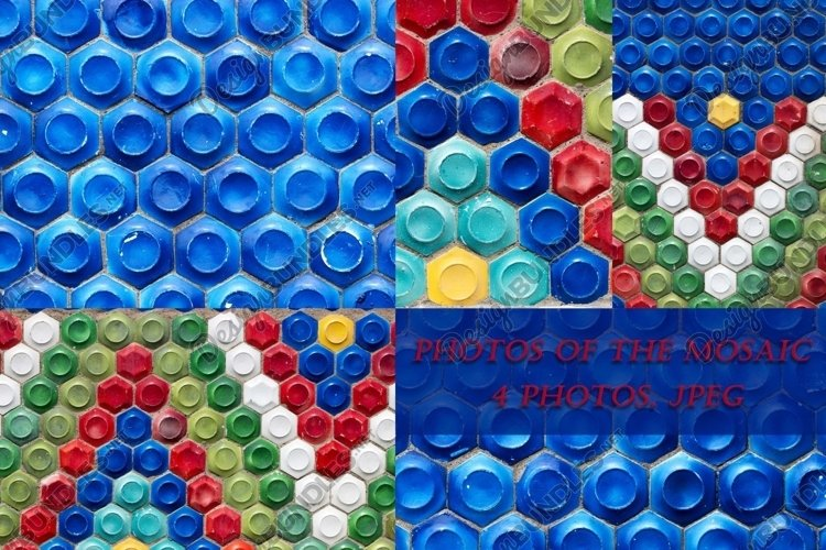 4 photos of mosaics with geometric patterns. example image 1