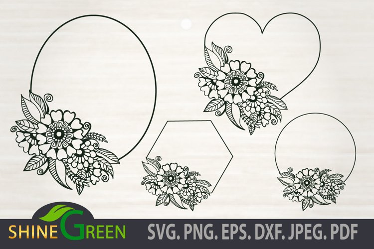Floral Frames SVG Bundle, Hand Drawn Flower, Wedding Decor example image 1