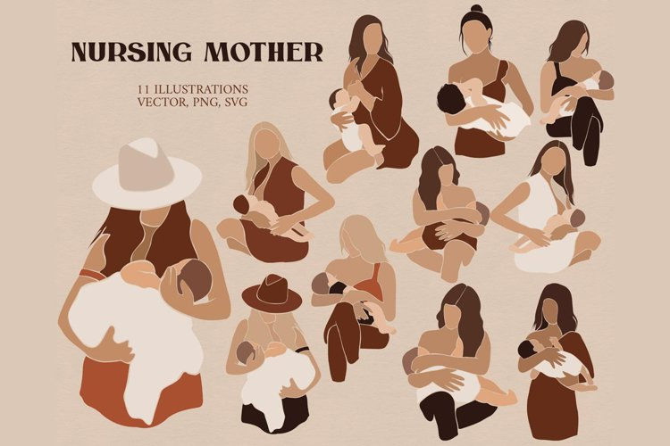 Abstract Nursing mother clipart example image 1