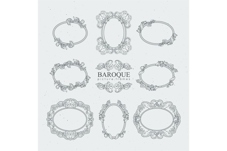 Detailed vintage frames in baroque style. Vector collection example image 1