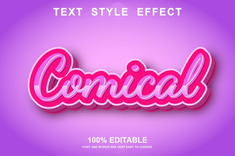 comical text effect editable