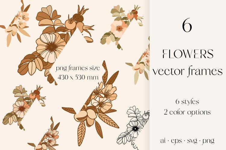 Flowers vector frames, line art flowers sublimation