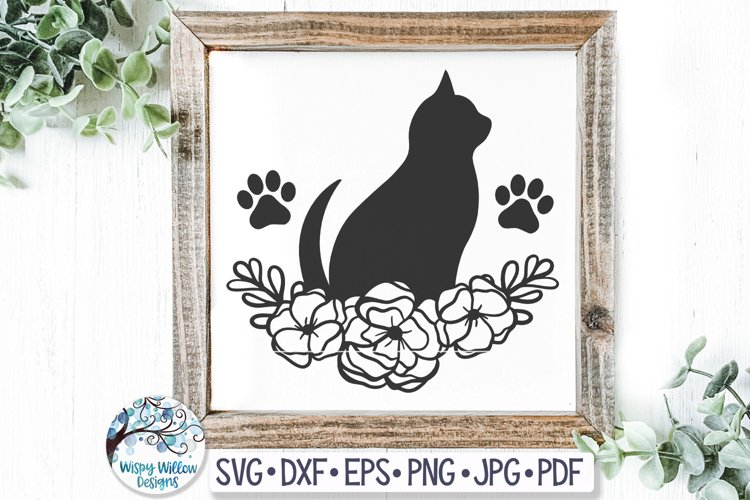 Cat with Flowers SVG Cut File