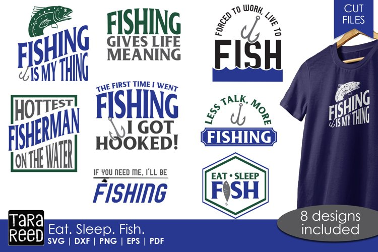 Eat Sleep Fish - Fishing SVG and Cut Files for Crafters