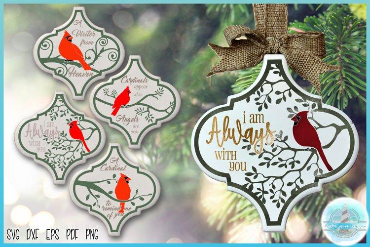 """3"""" x 2.9"""" Arabesque Tile Ornament Cardinal Quote Bundle SVG example image 1"""