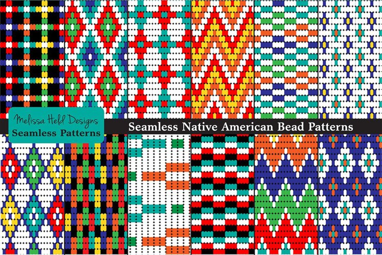 Seamless Tribal Bead Patterns example image 1